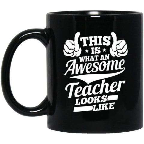 Drinkware - Awesome Teacher 11 Oz. Black Mug