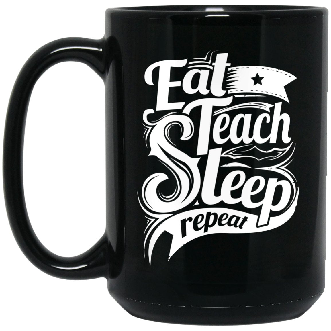 Drinkware - Teach Repeat 15 Oz. Black Mug