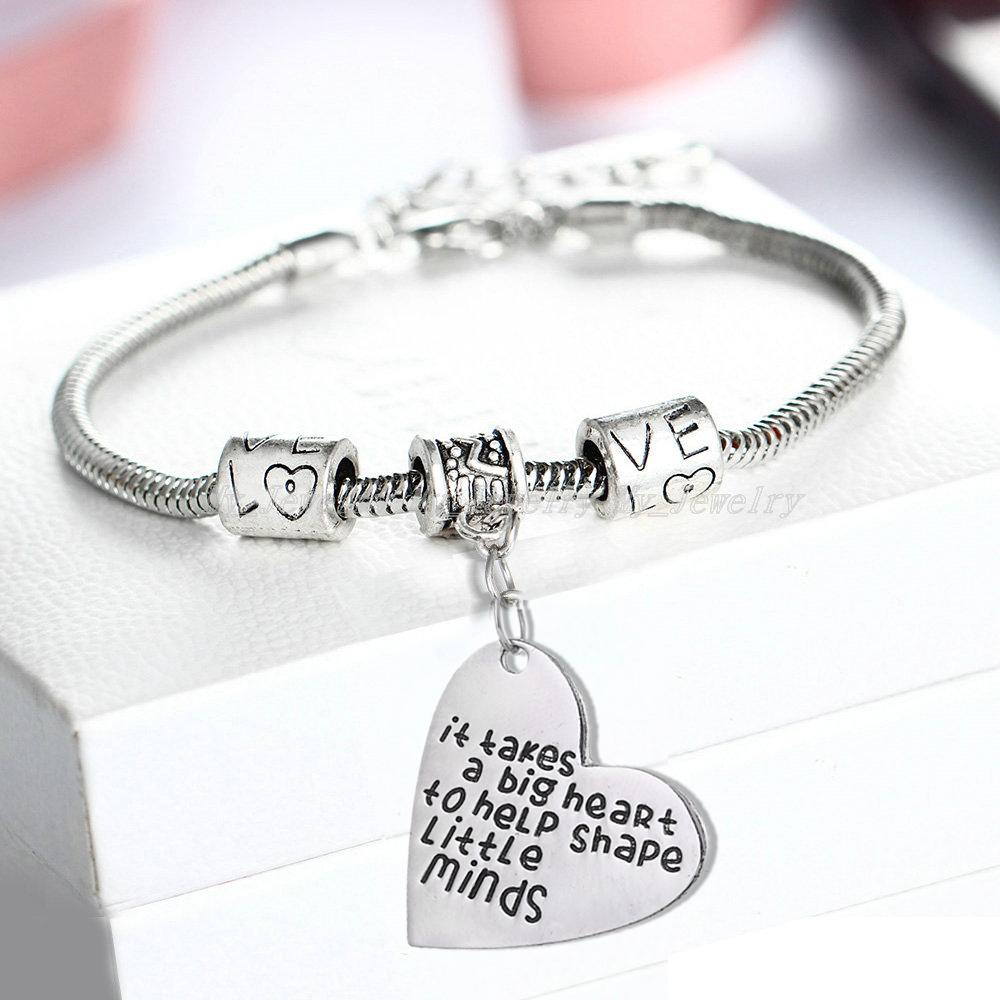 It Takes A Big Heart To Teach Little Minds Bangle Bracelet