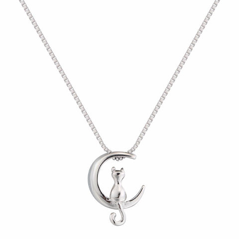 Jewelry - Sterling Silver Cat In Moon Pendant