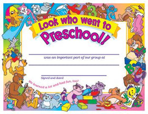 PK-K Certificates & Diplomas - Look Who Went To Preschool 30/Pk 8 1/2 X 11 Certificates