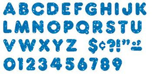 Ready Letters?« - Blue Sparkle 4-Inch Casual Uppercase