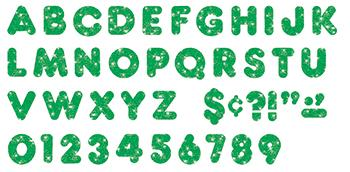 Ready Letters?« - Green Sparkle 2-Inch Casual Uppercase