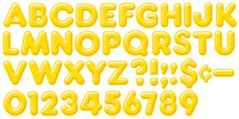 Ready Letters?« - Yellow 4-Inch 3-D Uppercase