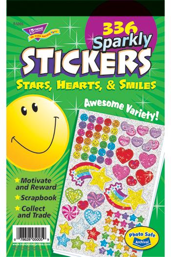 Sticker Pad - Sparkly Stars, Hearts, & Smiles