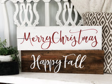 Merry Christmas / Happy Fall reversible sign