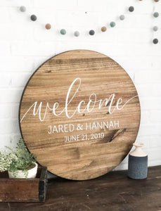 Wedding Welcome Round Sign