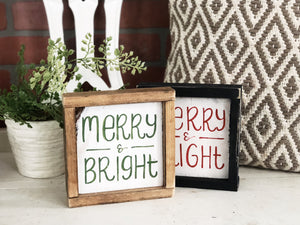 Merry & Bright Mini Sign