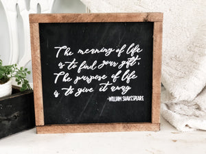 The meaning of life - William Shakespeare