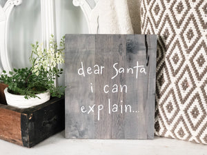 Dear Santa I can explain.