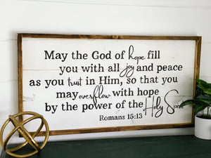 May the God of hope Romans 15:13