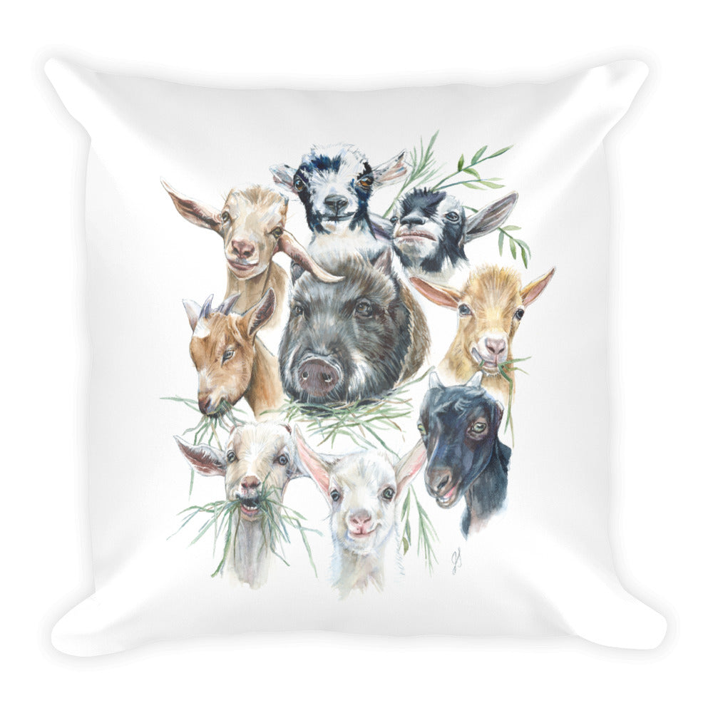 Piney the Goat Nanny - Square Pillow