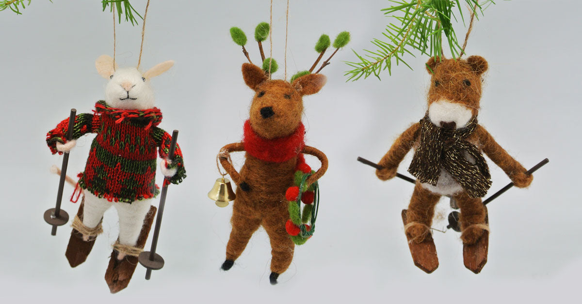 Felted Skiing Animal Christmas Ornaments
