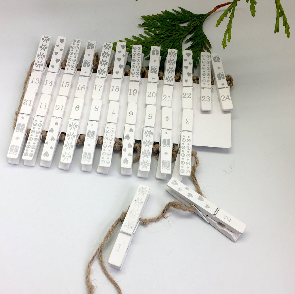 clothes peg advent garland silver twang and pearl