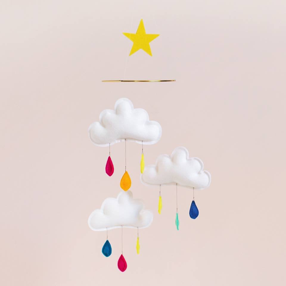 the butter flying three cloud mobile in rainbow twang and pearl