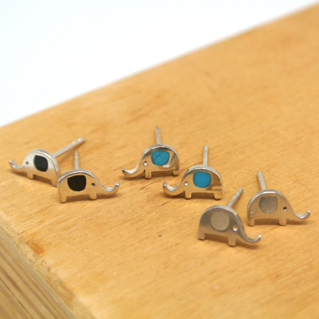 twang and pearl sterling silver studs elephants