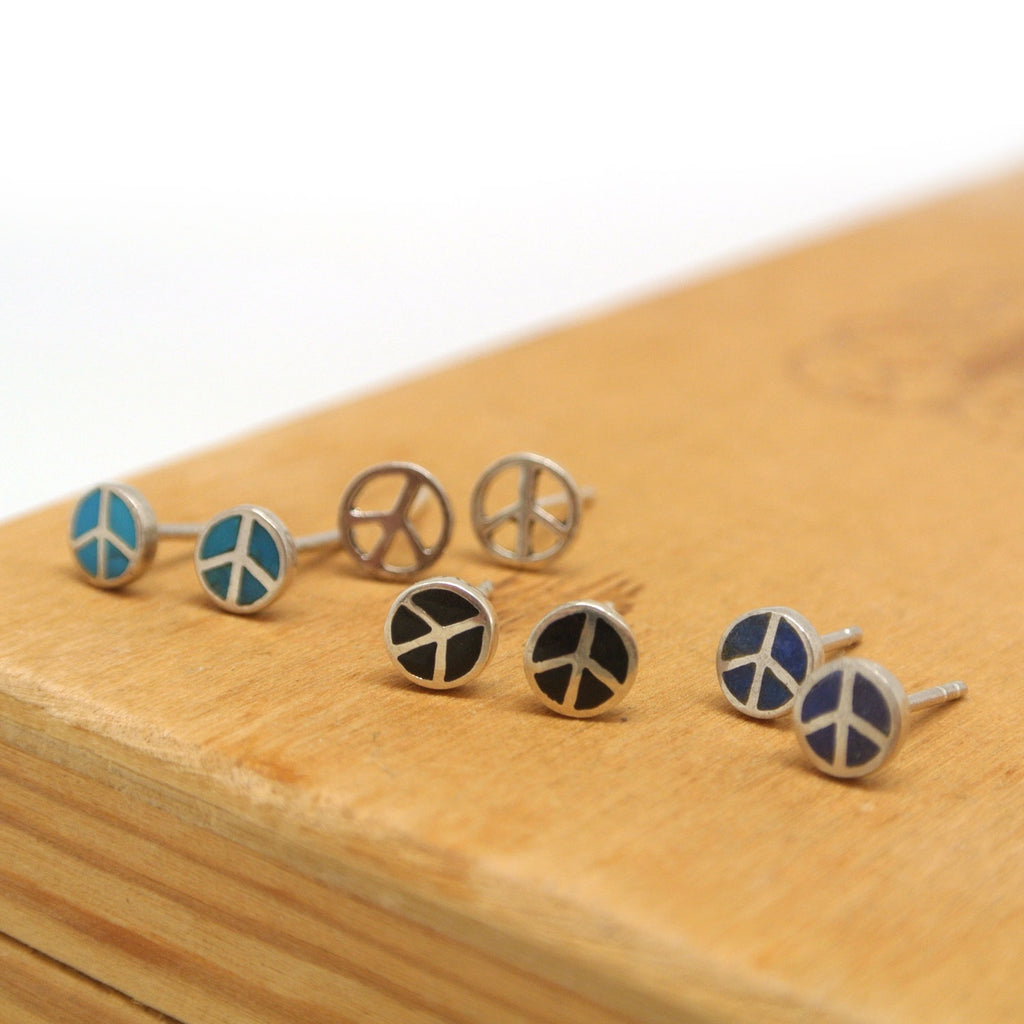 twang and pearl sterling silver studs peace