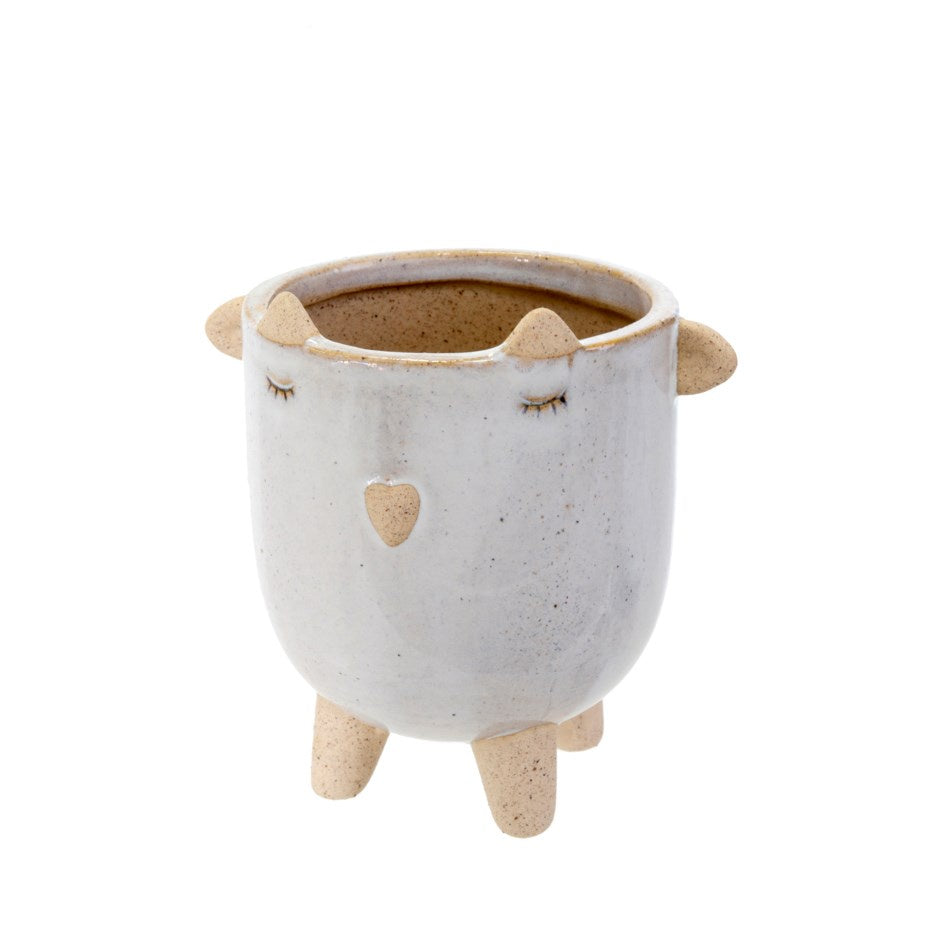 Little Lamb Pot - White