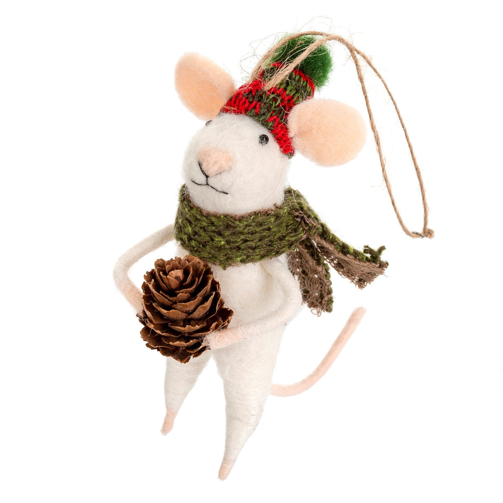Felted Mouse Ornament Forester Frank at Twang and Pearl
