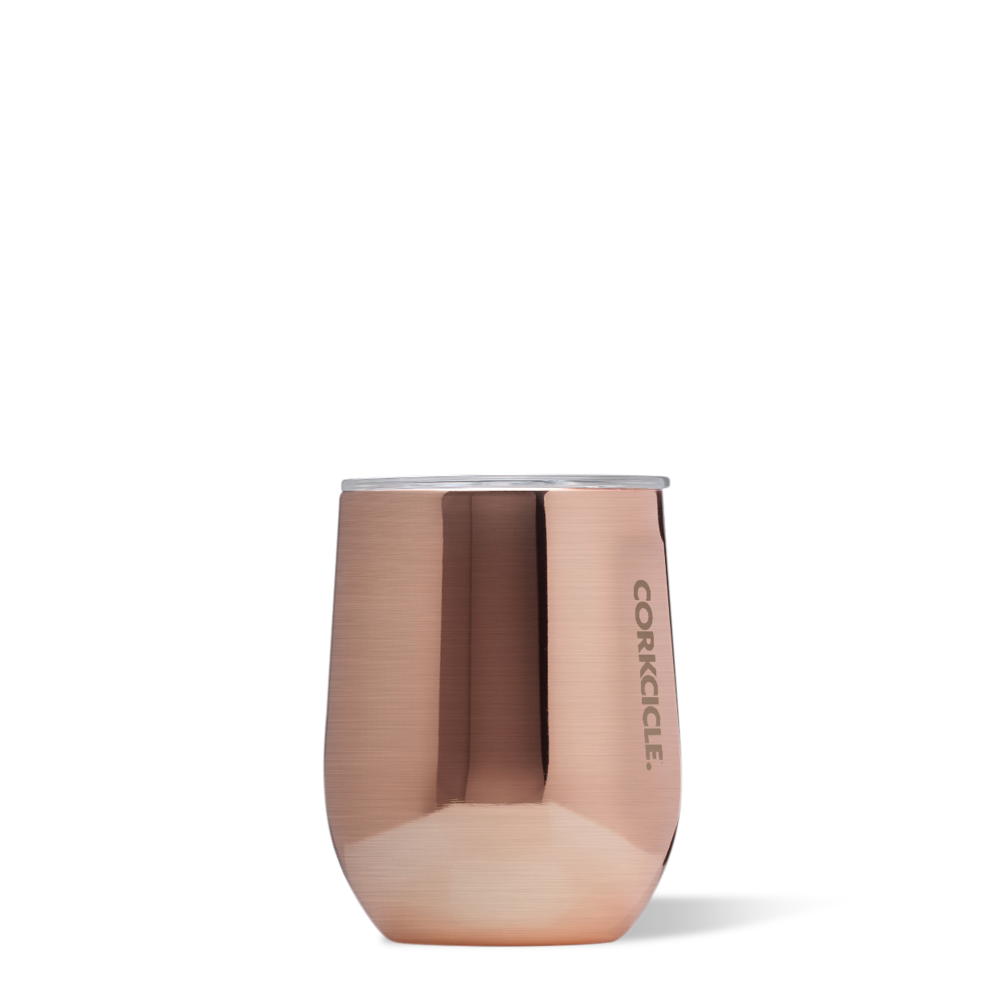 corkcicle stemless tumbler 12 oz copper at twang and pearl