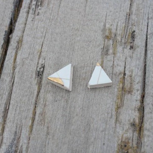 Slade Goods - Gold Trim Triangle Stud Earrings - White