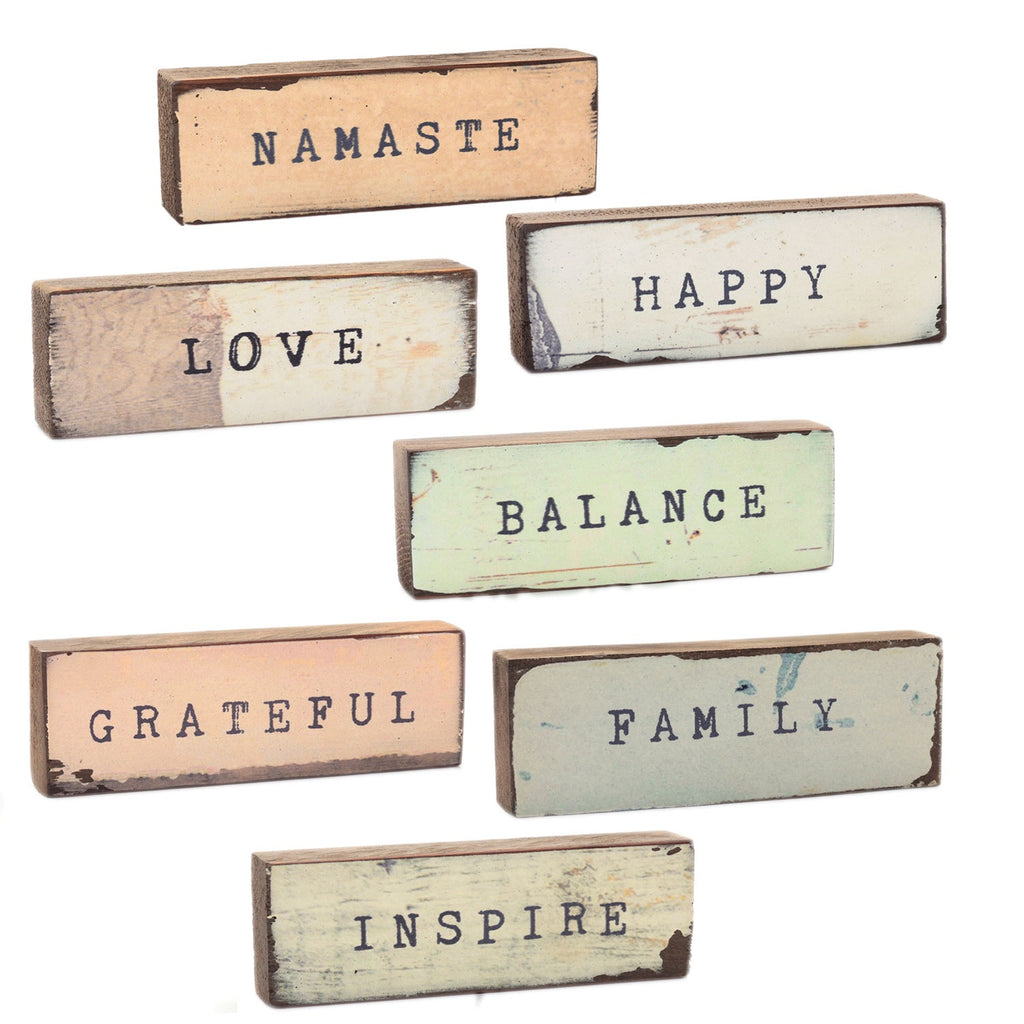 Shelf & Wall Art | Handmade Wood Block, Inspirational Quote