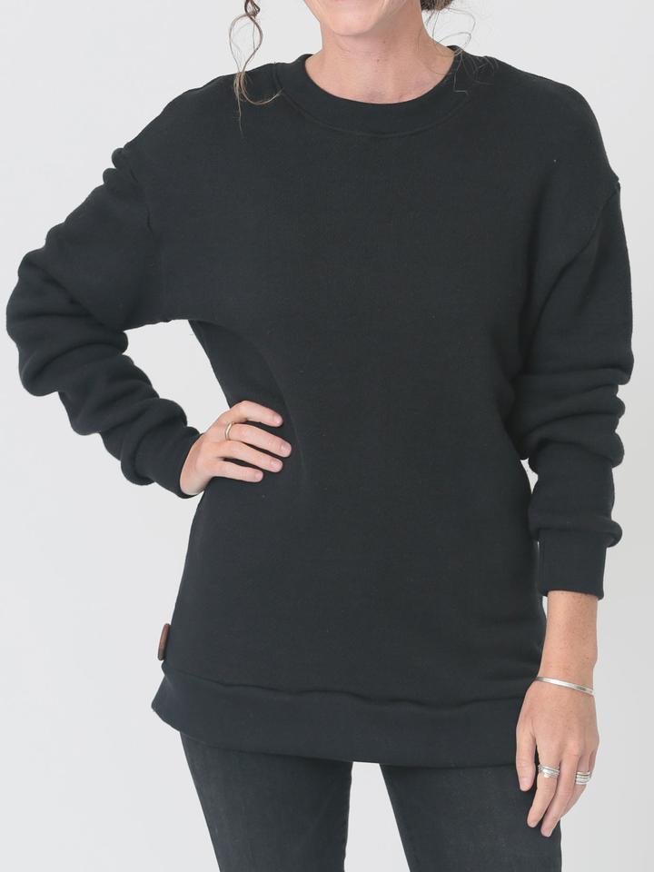 qube qrew sweater in black at twang and pearl