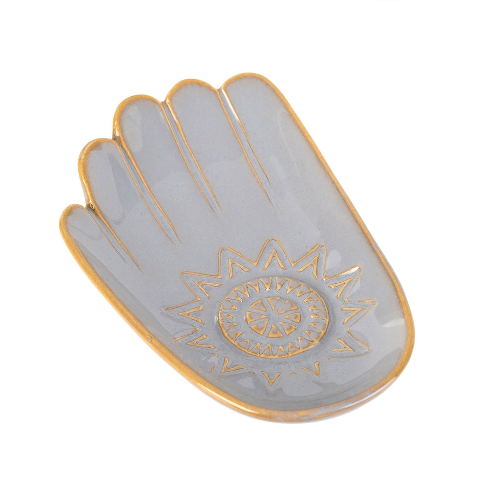 ceramic hamsa hand catch all dish large grey at twang and pearl