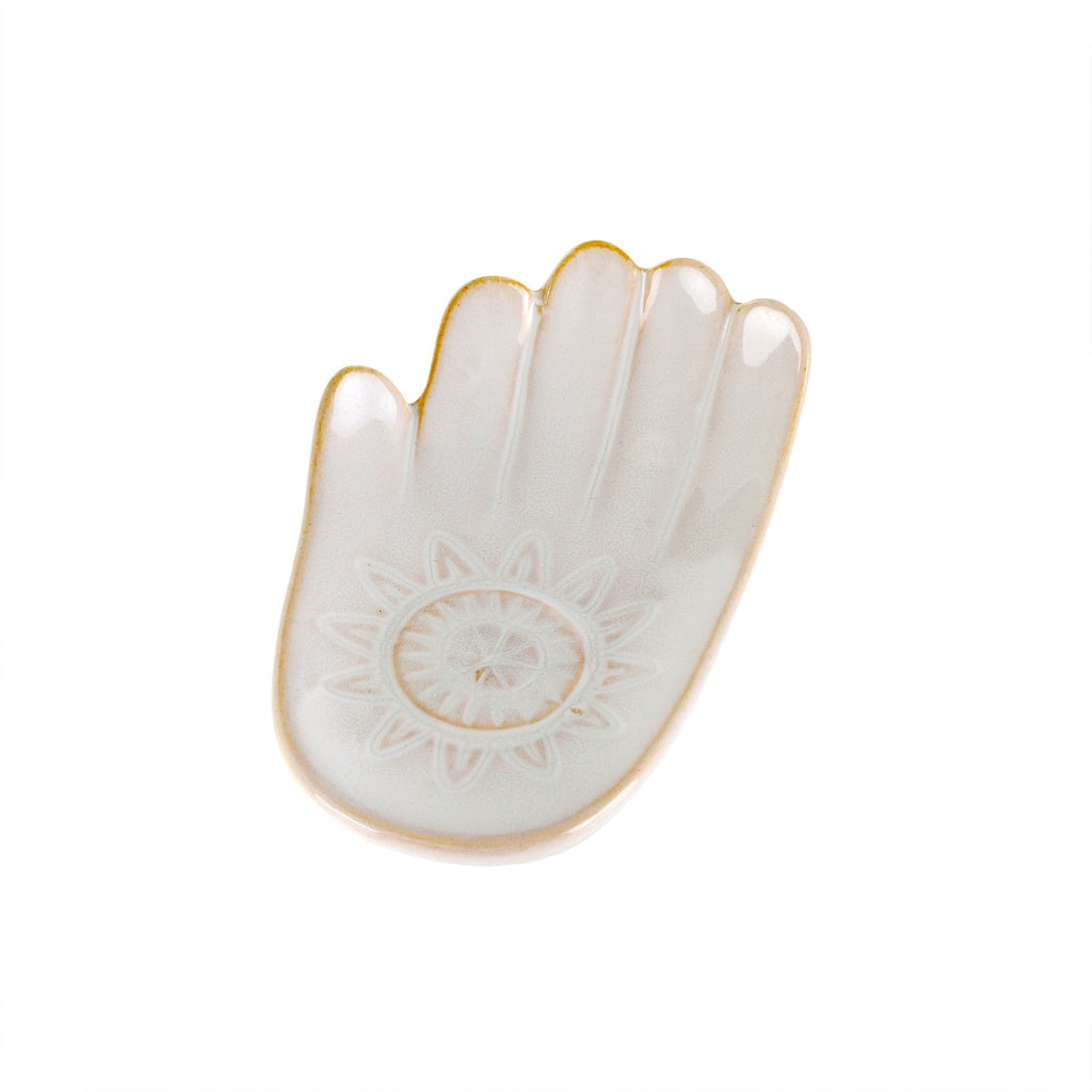 ceramic hamsa hand catch all dish small white at twang and pearl