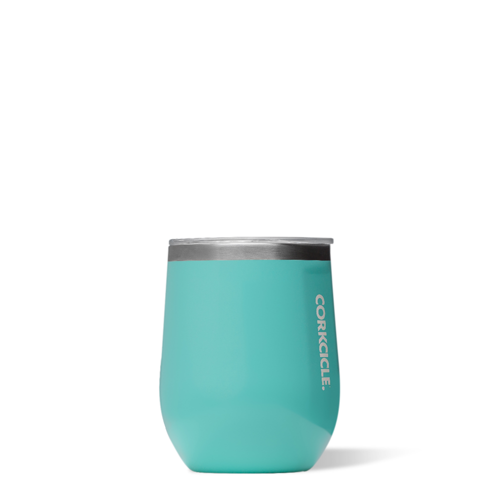 corkcicle stemless tumbler gloss turquoise at twang and pearl