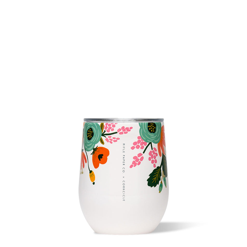 corkcicle stemless tumbler 12oz rifle paper collab cream at twang and pearl