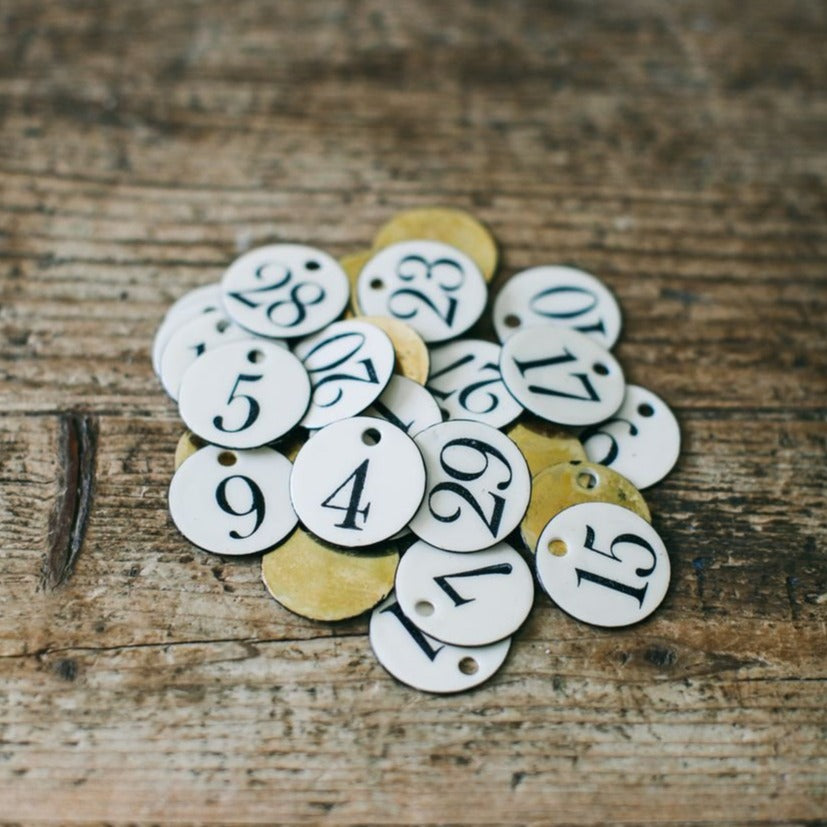 Brass + Ink - Enamel Tag - Numbers