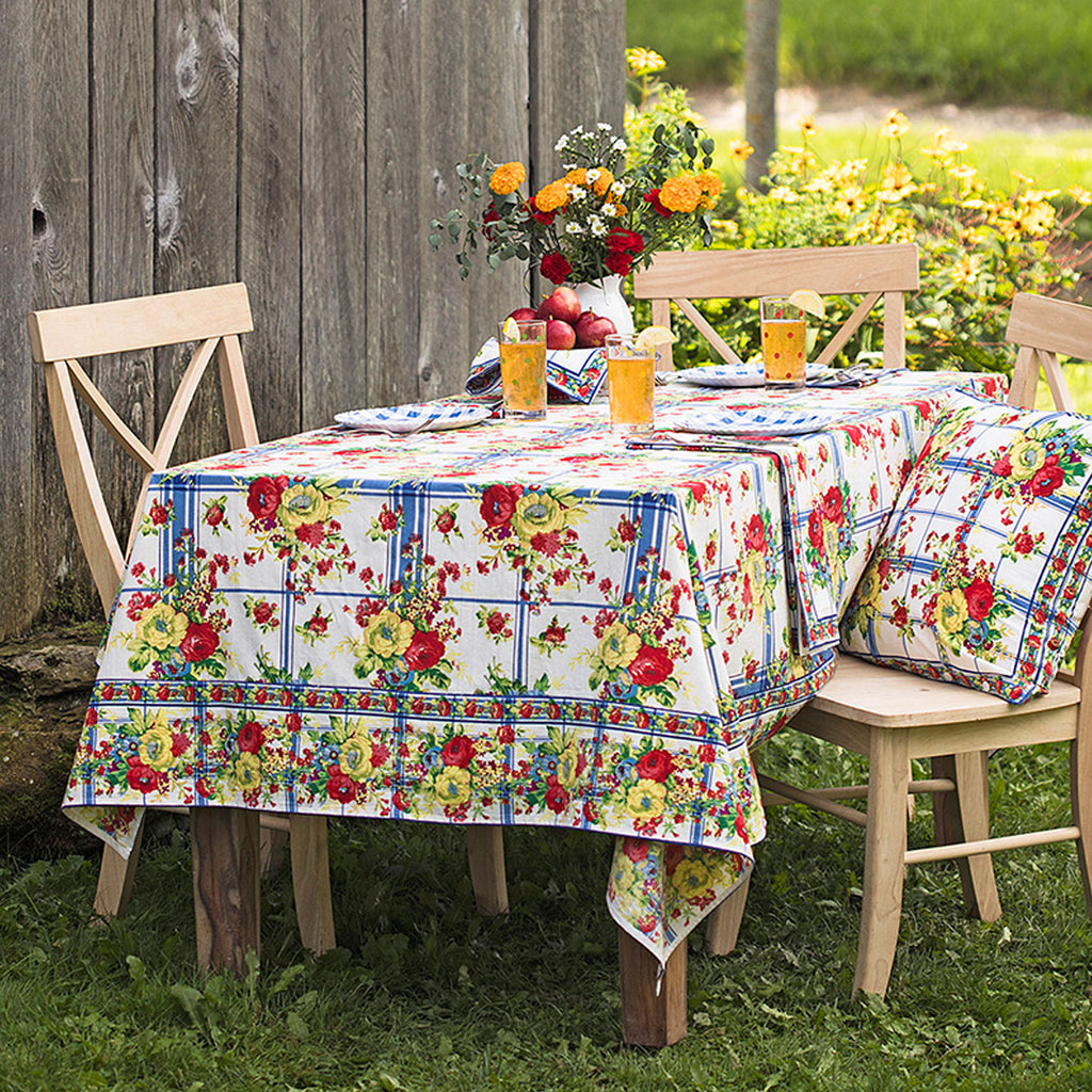 "April Cornell Cotton Tablecloth | Cornwall Cottage, 54"" x 54"""