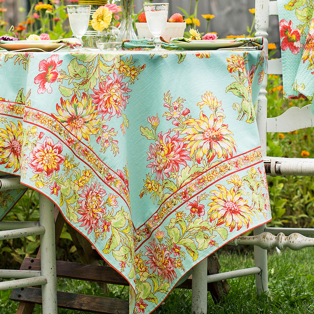 Products April Cornell Cotton Tablecloth | Dahlia Days Aqua
