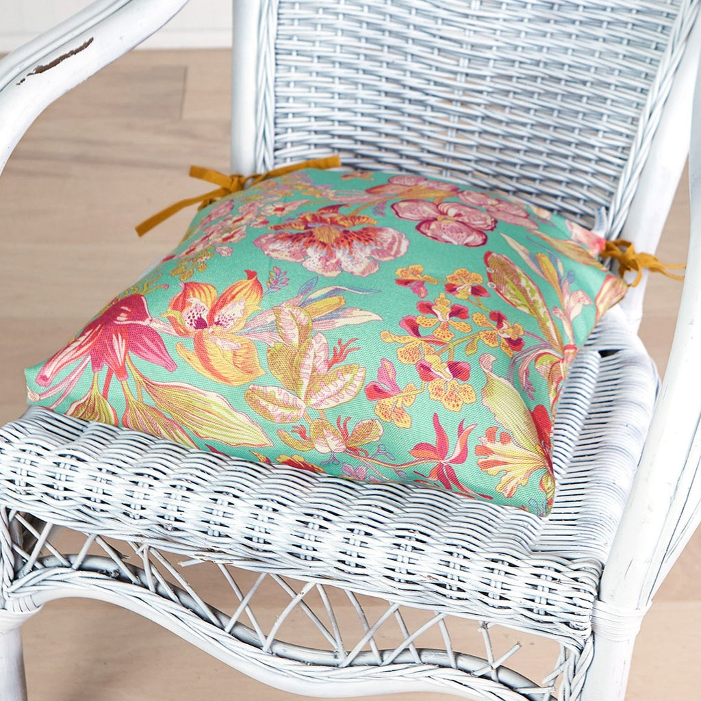 April Cornell Orchid Study Outdoor Chair Pad Jade