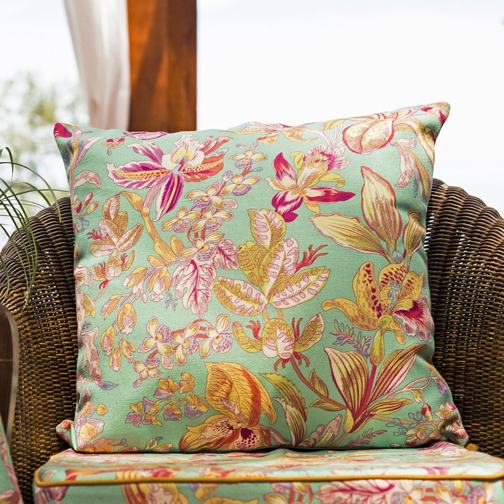 April Cornell Orchid Outdoor Cushion with Filler Jade