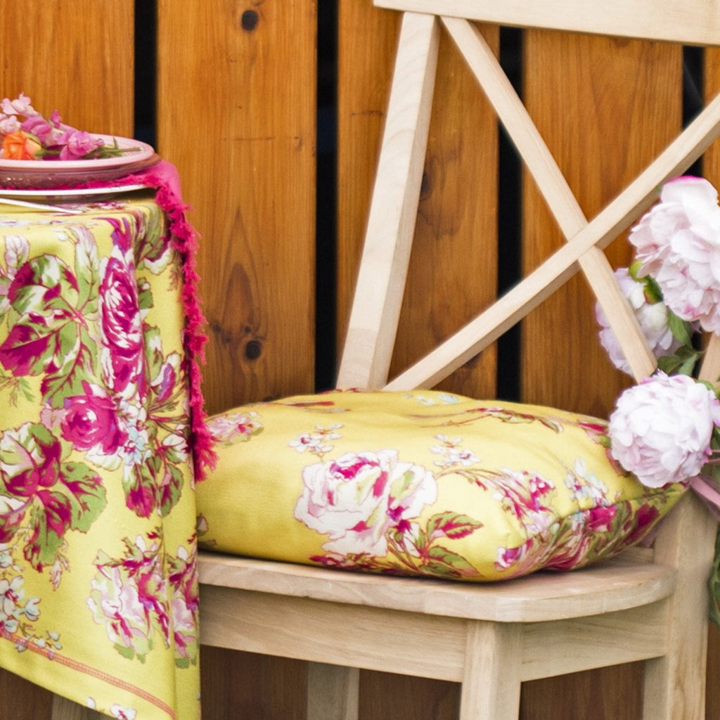 April Cornell Victorian Rose Outdoor Chair Pad Yellow