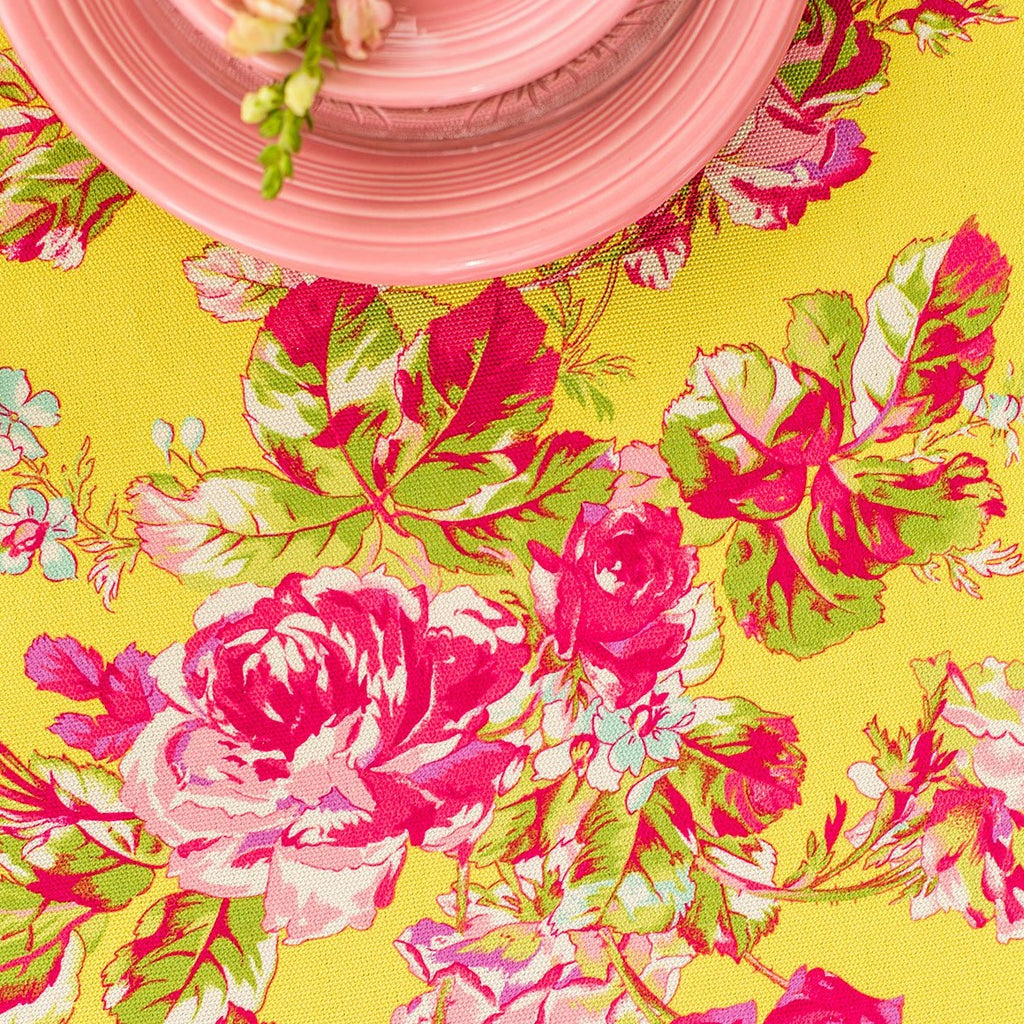 April Cornell Victorian Rose Outdoor Tablecloth Yellow