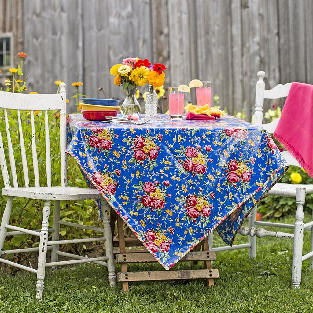April Cornell Waterproof Oilcloth Tablecloth Viola Rose Blue