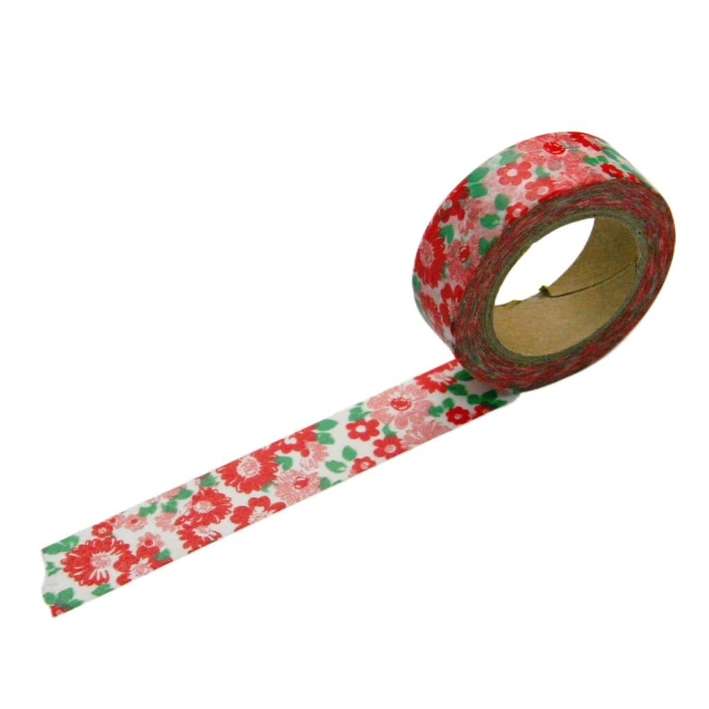 Beve Washi Tape Red Pink Floral at Twang and Pearl