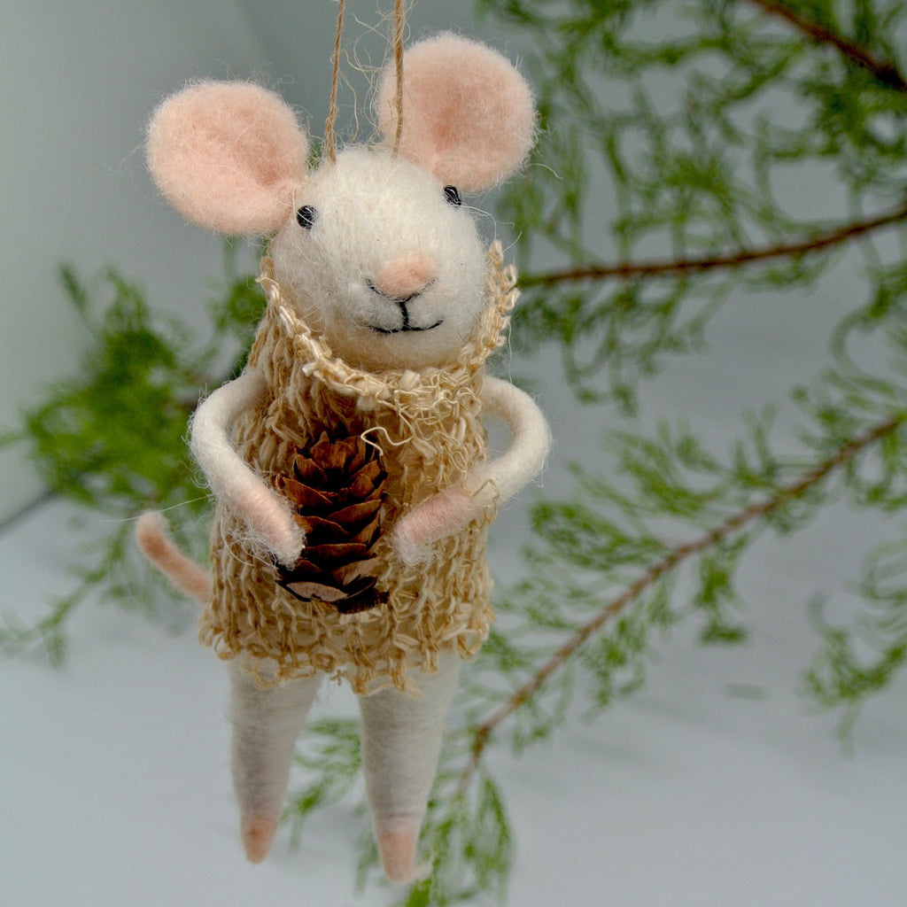 Felted Mouse Ornament - Boho Lily