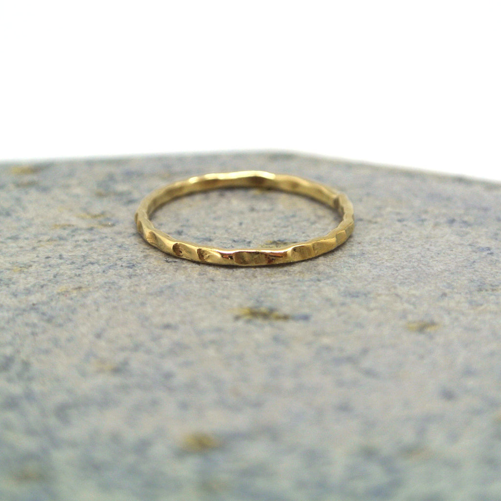 twang and pearl brass stacking rings hammered