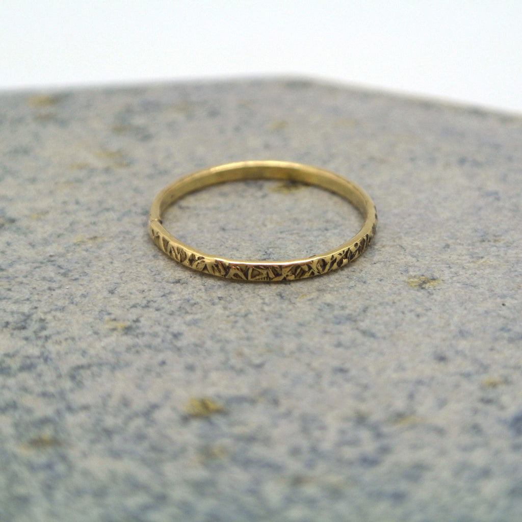 twang and pearl brass stacking rings stamped
