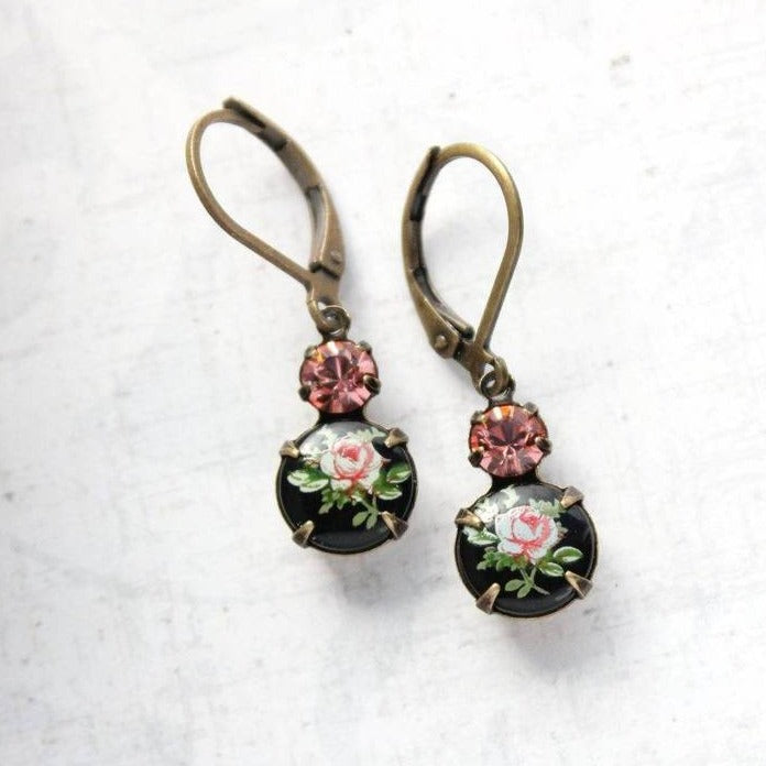 A Pocket of Posies Glass Earrings Vintage Glass Earrings Little Pink Rose Cameo on Black