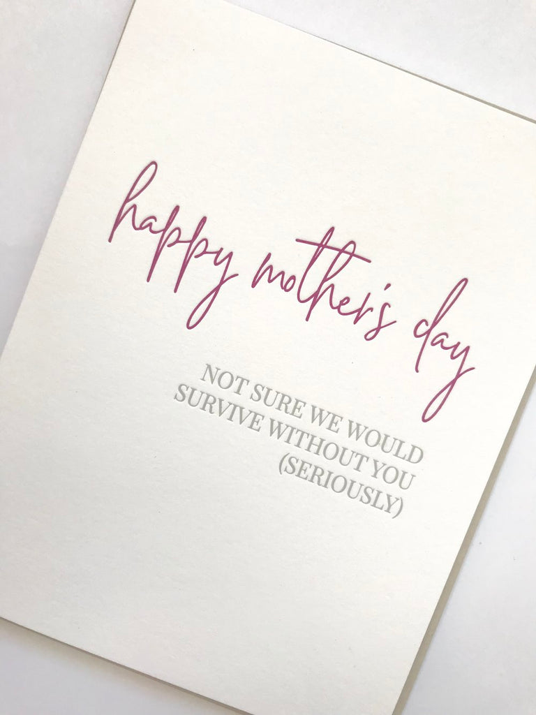 Carina Paper Mother's Day Card Survive at Twang and Pearl