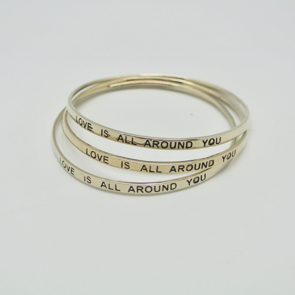 twang and pearl love is all around you bangle silver