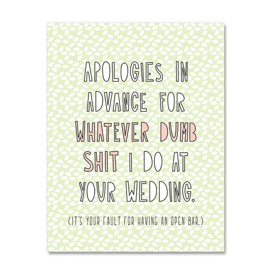 Near Modern Disaster Wedding Card Dumb Shit at Twang and Pearl