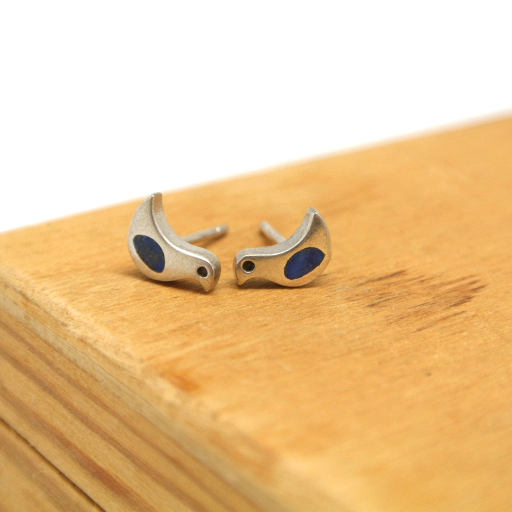 twang and pearl sterling silver studs winged friends bird lapis