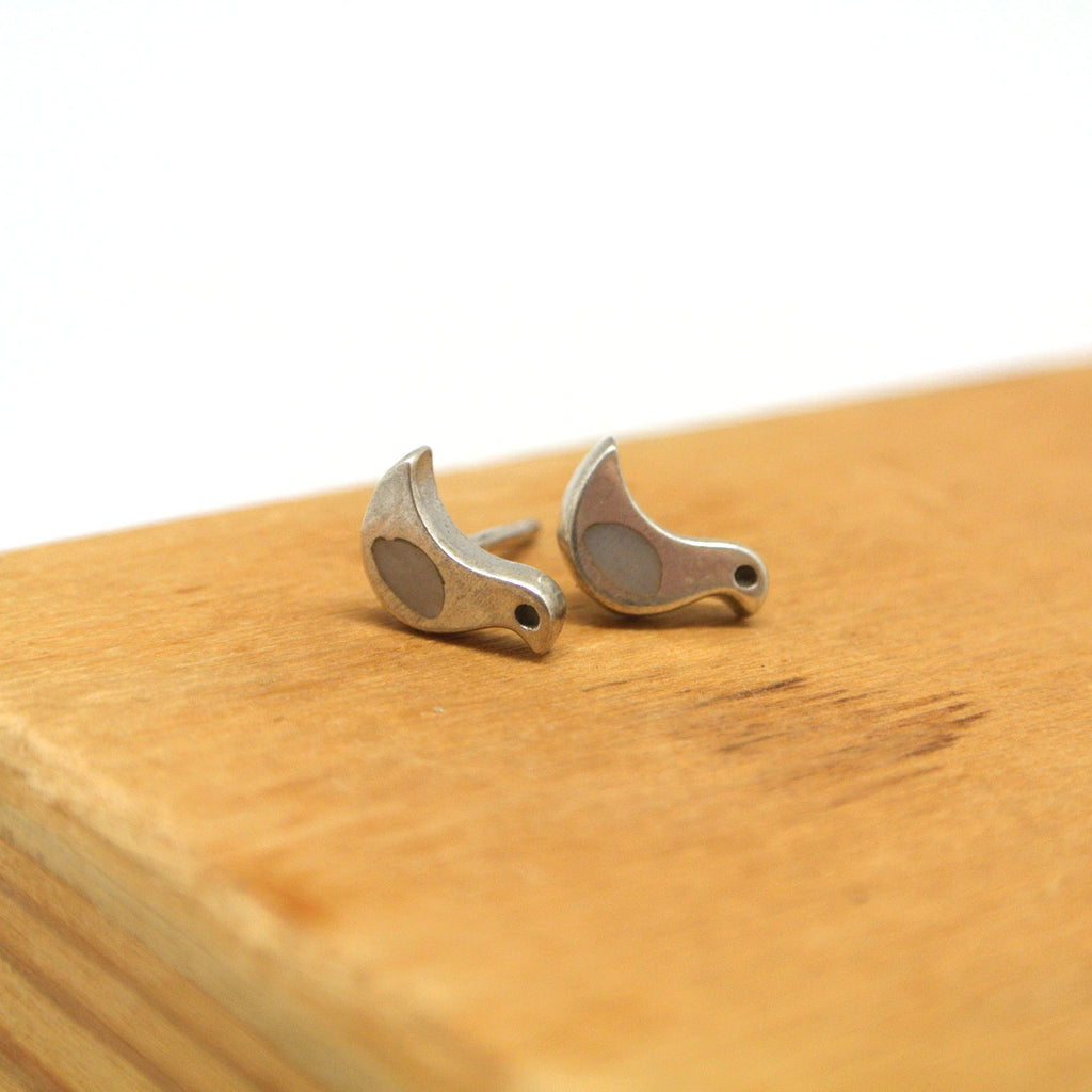 twang and pearl sterling silver studs winged friends bird shell grey