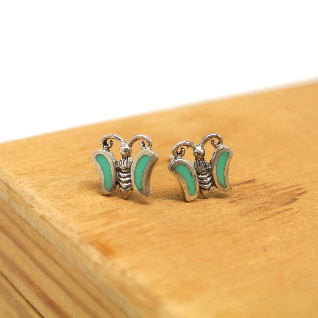 twang and pearl sterling silver studs winged friends butterfly turquoise
